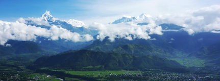 Himalayas Pokhara landscape. Himalayas, Pokhara is a city on Phewa Lake, in central Nepal. It's known as a gateway to the Annapurna Circuit Stock Photo