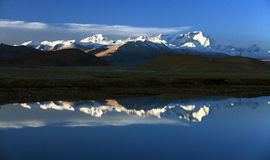 Himalayas. The reflection of the lake in Himalaya's sunrise Stock Image