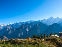 Himalayas sunrise. Sunrise in the Himalayas, the first rays of the sun -  view from Auli, India Royalty Free Stock Photo