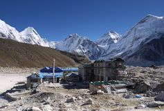 Himalayas. View of the village Gorak Shep, in the Khumbu valley. Nepal. 5240 m above sea level Royalty Free Stock Image