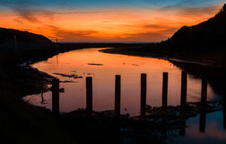 Himatangi Beach River Sundown Stock Photography
