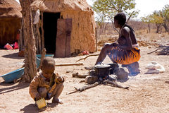 Himba camp Stock Image