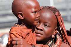 Himba family in Namibia Stock Photography