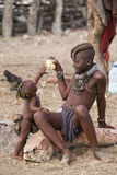 Himba girl and baby royalty free stock images