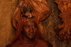 Himba Lady doing a ceremony royalty free stock image