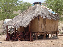 Himba people near the hovel Stock Photos