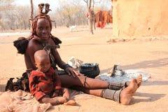 Himba syn i kobieta Zdjęcia Royalty Free