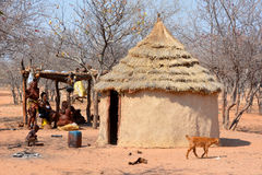 Himba tribe village Stock Photo