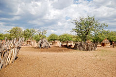Himba village with traditional huts near Etosha National Park in Namibia. Africa Royalty Free Stock Images