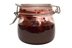 Himbeere-Marmelade mit Pfad (Seitenansicht) Stockbilder