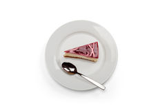 Himbeere u. weißer Schokoladenkäsekuchen Stockbild