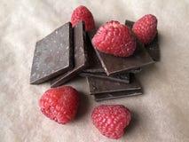 Himbeere und Schokolade Stockfoto