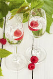 Himbeergeist, german fruit brandy from raspberries. Two glasses of Himbeergeist schnaps with fruits and leaves on rustic table Stock Photography