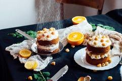 Himbeerkleiner kuchen Nahaufnahme eines Sahnekuchens bedeckt mit raspberr Stockfotografie