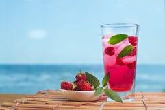 Himbeerlimonade mit Minze und Eis Stockfotos