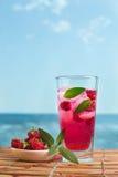Himbeerlimonade mit Minze und Eis Lizenzfreie Stockfotografie