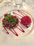 Himbeerschokoladen-Keks-Eiscreme Stockbilder