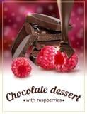 Himbeerschokoladennachtisch Paket zum Nachtisch stock abbildung