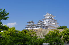 Himeiji castle. Huge white himeiji castle under clear sky with large tree Royalty Free Stock Photos