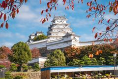 Himeji Castle during Autumn Festival in Japan. Himeji Castle, also called White Heron or White Egret Castle due to its white outer walls, is the best preserved royalty free stock photo