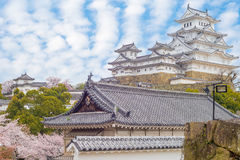 Himeji castle with cherry blossom Stock Photo