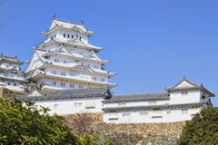 Himeji castle during cherry blossom time Royalty Free Stock Image