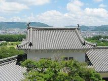 Himeji castle defensive tower+Himeji city Royalty Free Stock Photography