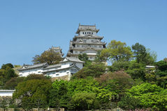Himeji Castle distant view oncalm day of spring Royalty Free Stock Photos