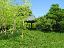 Himeji Castle gardens with a wooden structure Stock Photo