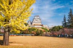 Preparations for Autumn Festival at Himeji Castle, Japan. Himeji Castle, Hyogo Prefecture, Japan -November 8, 2018: Sannomaru Square on the grounds of Himeji royalty free stock photos