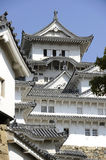Himeji Castle, Japan. Facade of the Himeji Castle, Japan, with the golden dolphins on top Stock Images