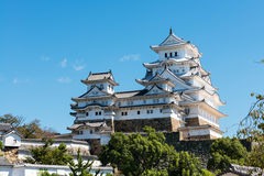 Himeji Castle in Japan against a clear blue sky Stock Photo