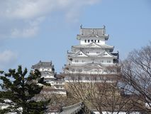 Himeji Castle. In Himeji, Japan. This castle is known for its white facade. This photo shows the main keep of the castle stock images