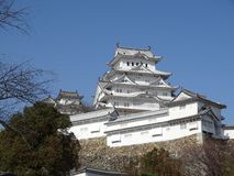 Himeji Castle. In Himeji, Japan. This castle is known for its white facade. This photo shows the main keep of the castle stock photo