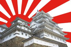 Rising Sun Himeji Castle. Himeji Castle with rising sun background royalty free stock photos