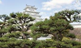 Himeji castle or White Egret Castle. Amazing Japanese national architecture - Himeji castle or White Egret Castle, standing on large foundation from a stone. It Stock Photos