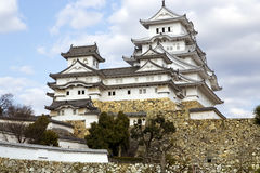 Himeji castle or White Egret Castle. Amazing Japanese national architecture - Himeji castle or White Egret Castle, standing on large foundation from a stone. It Stock Images