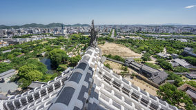 Himeji city from castle with roof. Wide angle view of Himeji from top of the castle roof Stock Image