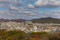 Himeji city residence downtown with mountain background Royalty Free Stock Photos