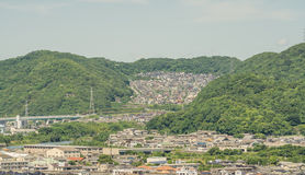 Himeji city residential district on hill from castle Stock Photography