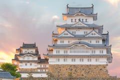 Himeji Grodowy historyczny punkt zwrotny z zmierzchem w Himeji mieście, japa Zdjęcia Royalty Free