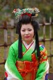 himeji japan japansk kimonolady Arkivfoton