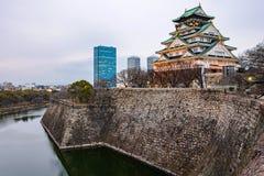 Himeji kasztel z rzeką w wieczór obrazy stock