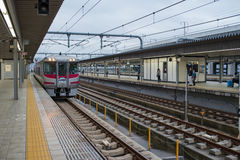 Himeji railway station with cloudy sky. Royalty Free Stock Images