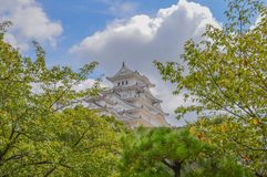 Himeji slott Japan bak träd royaltyfri bild