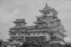 Himeji slott Japan i svartvitt Royaltyfri Fotografi
