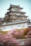 Himeji slott med de körsbärsröda blomningarna arkivfoton