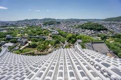 Himeji stad från slott Arkivfoto