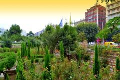Himla- trädgård i i stadens centrum Thessaloniki Royaltyfria Bilder