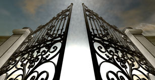 Himlar öppnar utsmyckade portar Arkivbild